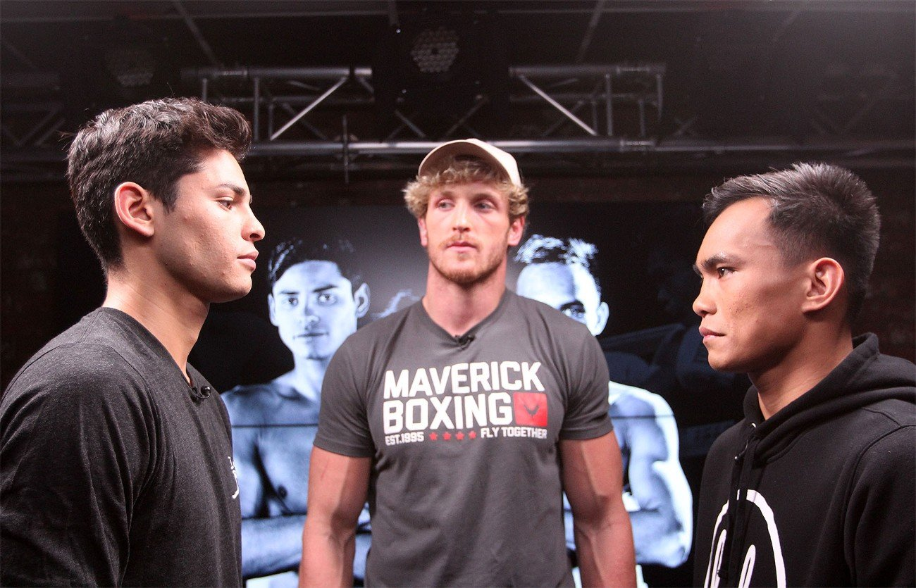 "Logan Paul, Romero Duno, Ryan Garcia, Saul ""Canelo"" Alvarez, Sergey Kovalev - Rising lightweight star Ryan Garcia (18-0, 15 KOs) and NABO Lightweight Champion ""Ruthless"" Romero Duno (21-1, 16 KOs) faced off in a special pre-fight feature on Facebook Watch to discuss their highly anticipated 10-round fight in the co-main event of Canelo vs. Kovalev.The night of boxing action will take place this Saturday, Nov. 2 at the MGM Grand Garden Arena in Las Vegas and will be streamed live exclusively on DAZN."