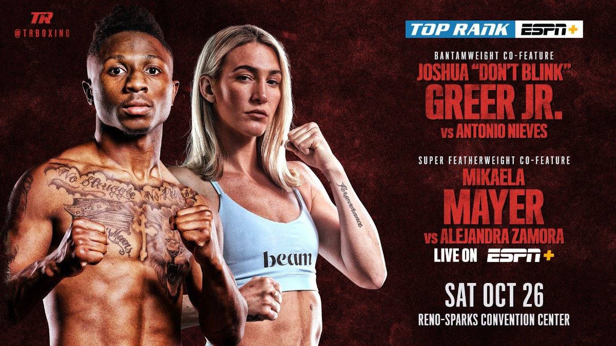 Mikaela Mayer - The man of many nicknames and one of the faces of female boxing will fight in co-feature bouts before Shakur Stevenson takes on Joet Gonzalez for the vacant WBO featherweight world title Saturday, October 26 at Reno-Sparks Convention Center.