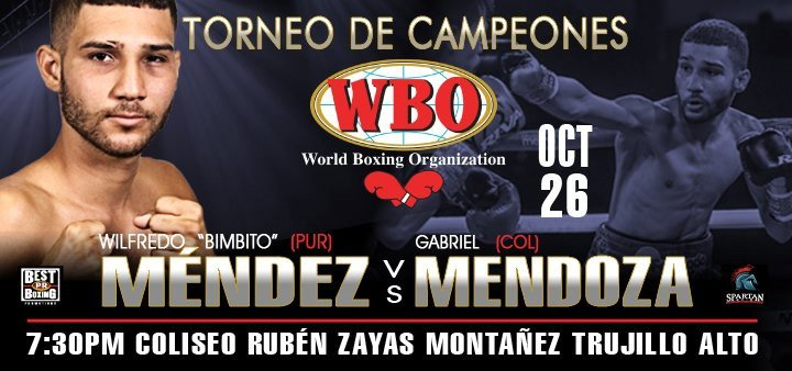 """Puerto Rican Wilfredo """"Bimbito"""" Méndez will defend his WBO 105 pounds belt for the first time this Saturday, October 26, on the """"WBO Champions Tournament"""" show, which will feature three other title fights at the Rubén Zayas Montañez Coliseum in Trujillo Alto, Puerto Rico in a presentation of PR Best Boxing Promotions (PRBBP) in association with Spartan Boxing.."""