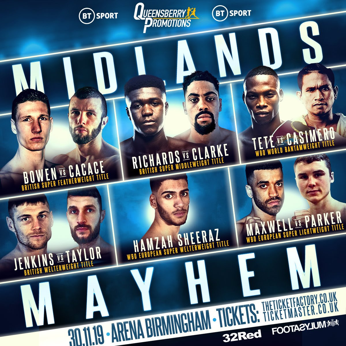 Anthony Cacace, Sam Bowen, Zolani Tete - Frank Warren's Queensberry Promotions are heading to the Midlands to stage a bumper night of boxing at Arena Birmingham Saturday November 30, live on BT Sport.