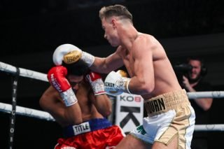 Paddy Donovan - Former world silver medallist and 13 times Irish amateur champion Paddy 'The Real' Donovan made an emphatic statement on his pro debut at the Ulster Hall, Belfast on Friday evening.