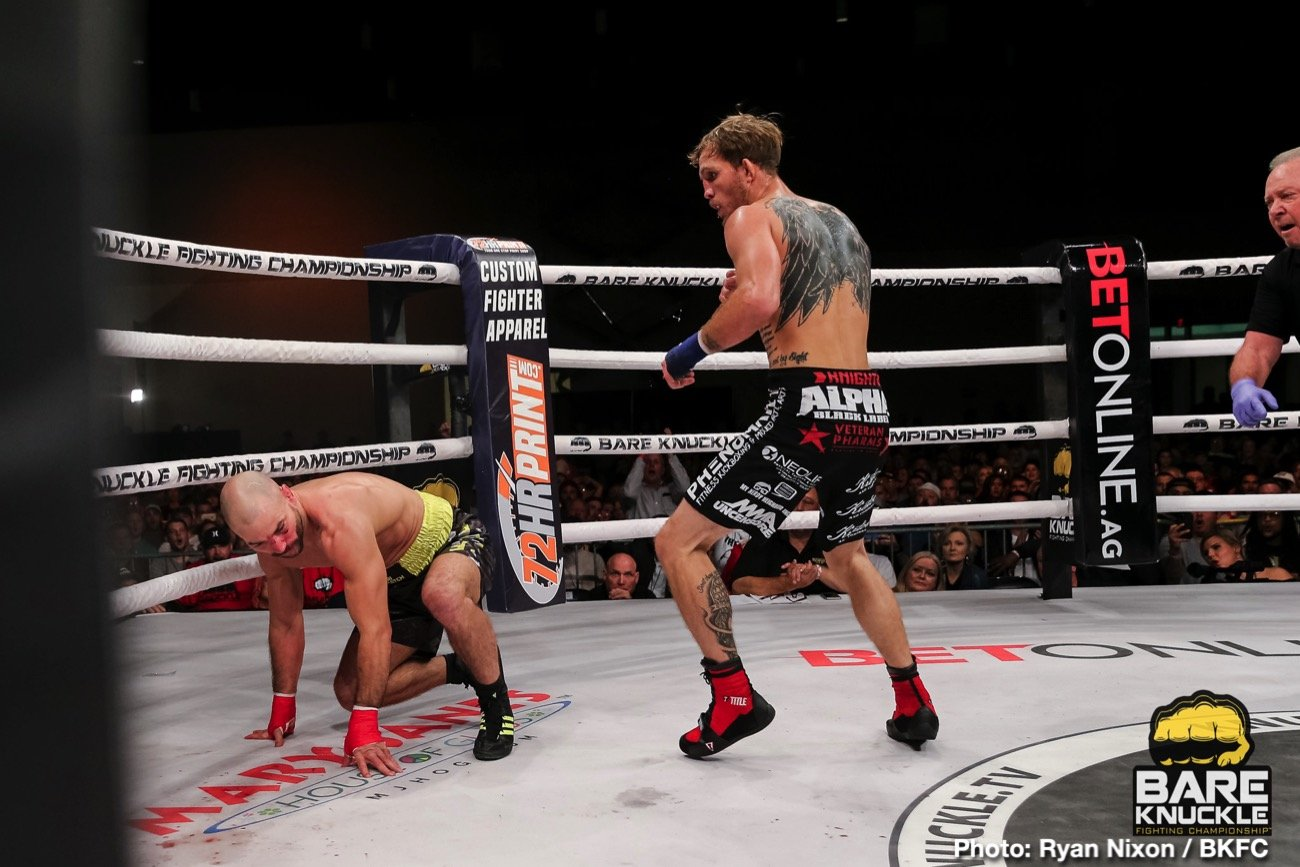It was a case of sweet, and brutal revenge last night in Biloxi, as bare-knuckle warriors Jason Knight and Artem Lobov went to war for a second time. Back in the spring, Russian slugger Lobov pounded out a tough and bloody five-round decision victory over Mississippi's Knight. But yesterday the tables were turned.