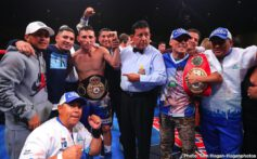 """Andrew Cancio, Rene Alvarado, Xu Can - Rene """"Gemelo"""" Alvarado (32-8, 20 KOs) of Managua, Nicaragua successfully defeated Andrew """"El Chango"""" Cancio (21-5-2, 16 KOs) of Blythe, California via knockout at the end of the seventh round of a 12-round rematch for the WBA Super Featherweight World Title. The fight was stopped after the referee deemed Cancio's cut to be too severe to continue. The event took place on Saturday, Nov. 23, 2019 at Fantasy Springs Resort Casino in Indio, Calif. and was streamed live DAZN."""