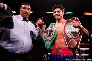 Devin Haney, Ryan Garcia, Teofimo Lopez, Vasiliy Lomachenko - Ryan Garcia says he doesn't view any of the current 135-pound champions as true champions because of the guys that they beat to win their titles. The lightweight champions Vasiliy Lomachenko, Gervonta Davis, and Devin Haney didn't have to beat anyone good to pick up their 135lb straps, and in the case of Devin, he was given his belt by the WBC outside of the ring.