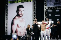 Canelo Alvarez, Sergey Kovalev - WBO light heavyweight champion Sergey Kovalev needed two tries before making weight at 175 lbs. on Friday for his title defense against superstar Saul Canelo Alvarez this Saturday. Kovalev weighed in at 175.25 lbs on his first try. He stripped everything in the process of trying to make weight, but it failed to work.