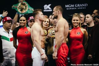"Canelo Alvarez - Saturday night at MGM Grand Garden Arena in Las Vegas, the biggest fight of the year is finally happening: Three-Time Light Heavyweight World Champion and current WBO Light Heavyweight World Champion Sergey ""Krusher"" Kovalev (34-3-1, 29 KOs) will defend his title against WBC Franchise, WBA, Lineal, Ring Magazine Middleweight World Champion and WBA Super Middleweight World Champion Canelo Alvarez (52-1-2, 35 KOs)."