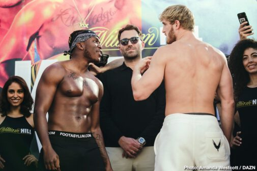 KSI, Logan Paul - KSI and Logan Paul stepped on the scale and faced off one last time before entering the ring tomorrow night as excitement builds for the rematch at the Staples Center in Los Angeles, and exclusively on DAZN. The YouTube stars previously fought in an amateur boxing match in front of a sold-out crowd in Manchester, England in August 2018. Following the majority draw, KSI and Logan Paul agreed to meet again as licensed professional boxers on Nov. 9 at the Staples Center in Los Angeles. The event will be streamed live exclusively on DAZN, which is available on any connected device.