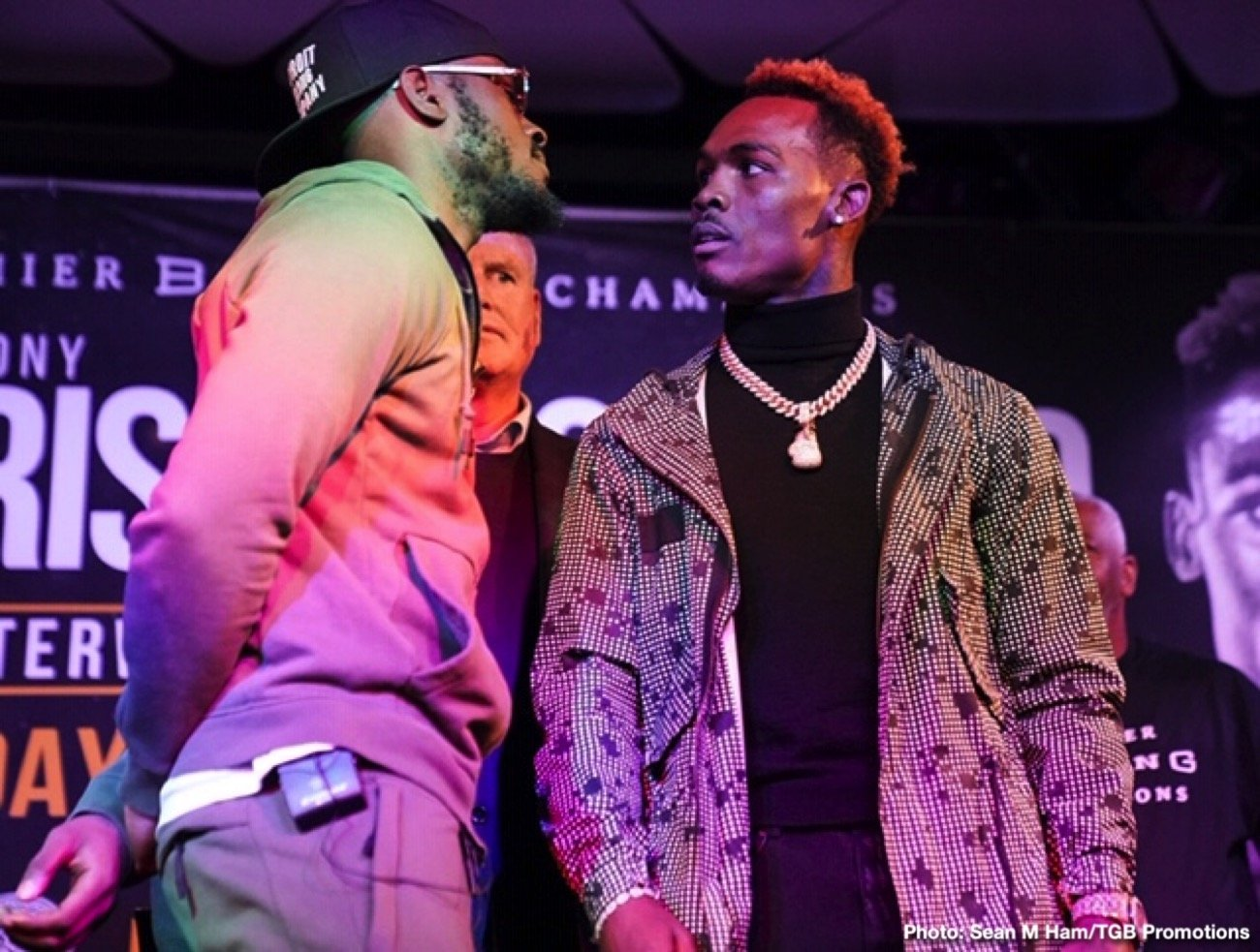 "Jermell Charlo -  WBC Super Welterweight Champion Tony ""Superbad'' Harrison and former world champion Jermell Charlo continued their verbal sparring and nearly came to blows at a heated press conference in Los Angeles on Thursday, as they previewed their rematch taking place Saturday, December 21 in the FOX PBC Fight Night main event and on FOX Deportes from Toyota Arena in Ontario, California."