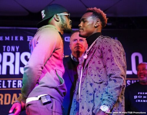 "Jermell Charlo, Tony Harrison -  WBC Super Welterweight Champion Tony ""Superbad'' Harrison and former world champion Jermell Charlo continued their verbal sparring and nearly came to blows at a heated press conference in Los Angeles on Thursday, as they previewed their rematch taking place Saturday, December 21 in the FOX PBC Fight Night main event and on FOX Deportes from Toyota Arena in Ontario, California."