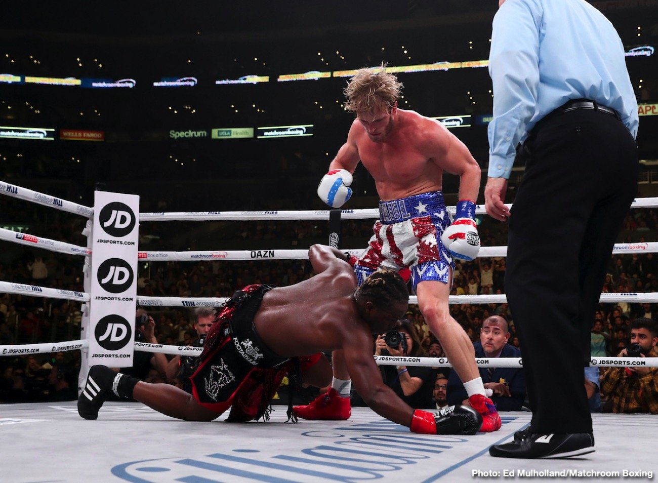 Billy Joe Saunders - KSI out-hustled Logan Paul in defeating him by a six round split decision in their celebrity match involving two huge Youtube stars on Saturday night on DAZN at the Staples Center in Los Angeles, California. Both cruiserweight were making their debut tonight. KSI (1-0) wanted it more, and was willing to let his hands go. The scores were 56-55 for Paul, and 57-54, 56-55 KSI.