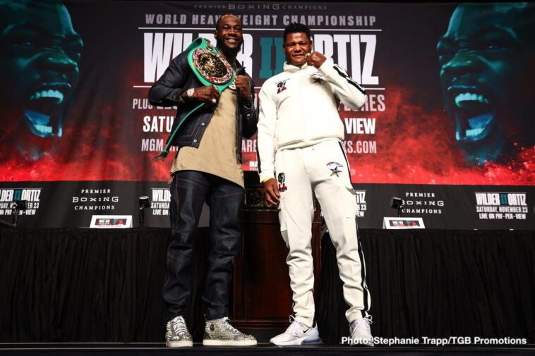 """Deontay Wilder, Leo Santa Cruz, Luis Ortiz, Miguel Flores - Boxing's longest reigning heavyweight champion, WBC titlist Deontay """"The Bronze Bomber"""" Wilder,and hard-hitting Cuban slugger Luis """"King Kong"""" Ortiz went face to face at the final press conference Thursday before they rematch in the FOX Sports PBC Pay-Per-View main event this Saturday, November 23 from the MGM Grand Garden Arena in Las Vegas."""