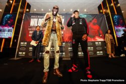 """Deontay Wilder, Luis Ortiz - WBC Heavyweight Champion Deontay """"The Bronze Bomber"""" Wilder and Cuban slugger Luis """"King Kong"""" Ortiz made their grand arrivals Tuesday at MGM Grand as they kicked off fight week events ahead of their highly anticipated rematch that headlines a FOX Sports PBC Pay-Per-View this Saturday, November 23 from the MGM Grand Garden Arena in Las Vegas."""