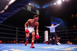 "Brian Carlos Castaño, Javier Fortuna, Wale Omotoso - Undefeated former champion Brian Carlos Castaño (16-0-1, 12 KOs) of Argentina scored a technical knockout win over veteran contender Wale ""Lucky Boy"" Omotoso (28-5, 22 KOs) of Nigeria in a super welterweight showdown that headlined FS1 PBC Fight Night on Saturday from MGM National Harbor in Maryland. The official time of the stoppage came at the 3:00 mark of round five."
