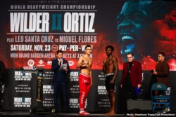 Brandon Figueroa, Deontay Wilder, Emmanuel Rodriguez, Julio Ceja, Leo Santa, Luis Nery, Luis Ortiz, Miguel Flores - Luis 'King Kong' Ortiz came in at 236.5 lbs and looked in best shape in years for his title challenge against WBC heavyweight champion Deontay Wilder. Ortiz will have 17-lb weight advantage over Wilder (41-0-1, 40 KOs), who weighed in at 219.5 lbs.