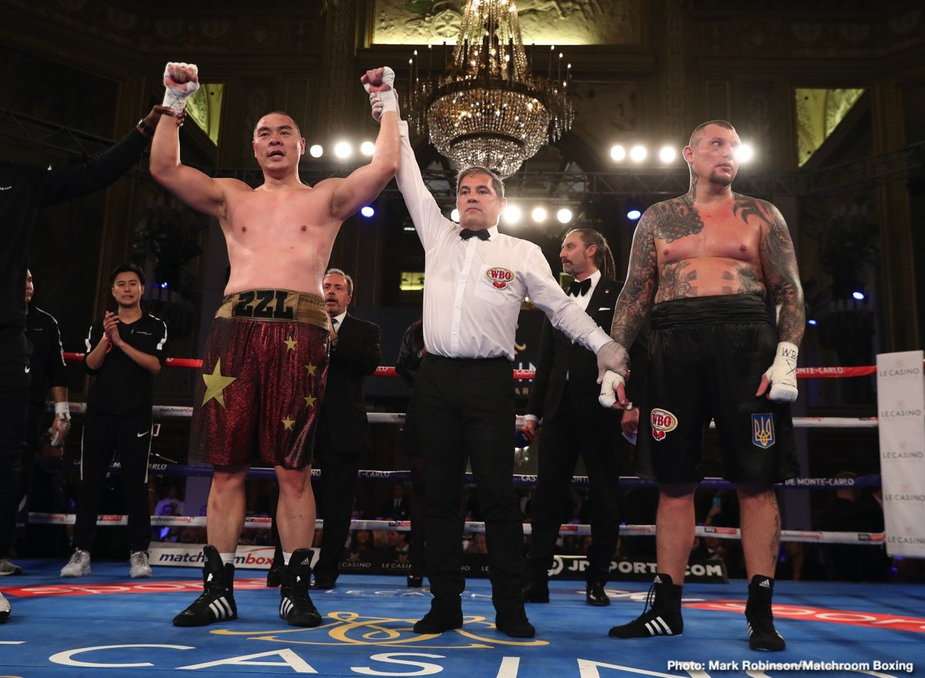 "On Saturday, November 30th, Roc Nation Sports' Chinese heavyweight star Zhang ""Big Bang"" Zhilei (21-0, 16 KOs) dominated tough veteran contender  Andriy Rudenko (32-5, 20 KOs) of Ukraine in a 10 round bout at the Casino de Monte-Carlo in Monaco. Zhilei has now skyrocketed to the top of the heavyweight division, beating Rudenko by way of unanimous decision. The score was 99-91, 98-92, 97-93."