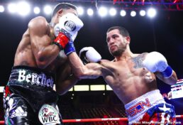 Javier Molina, Miguel Berchelt - Miguel Berchelt defended his WBC super featherweight world title for a sixth time, stopping the game but overmatched former world champion Jason Sosa in the fourth round at Dignity Health Sports Park.