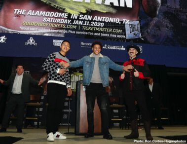 Gary O'Sullivan, Jaime Munguia - Jaime Munguia (34-0, 27 KOs) and Gary O'Sullivan (30-3, 21 KOs) hosted a press conference today The Alamodome in San Antonio, Texas to formally announce their 12-round middleweight fight, which will take place on Saturday, Jan. 11 at the very same place and will be streamed live on DAZN.