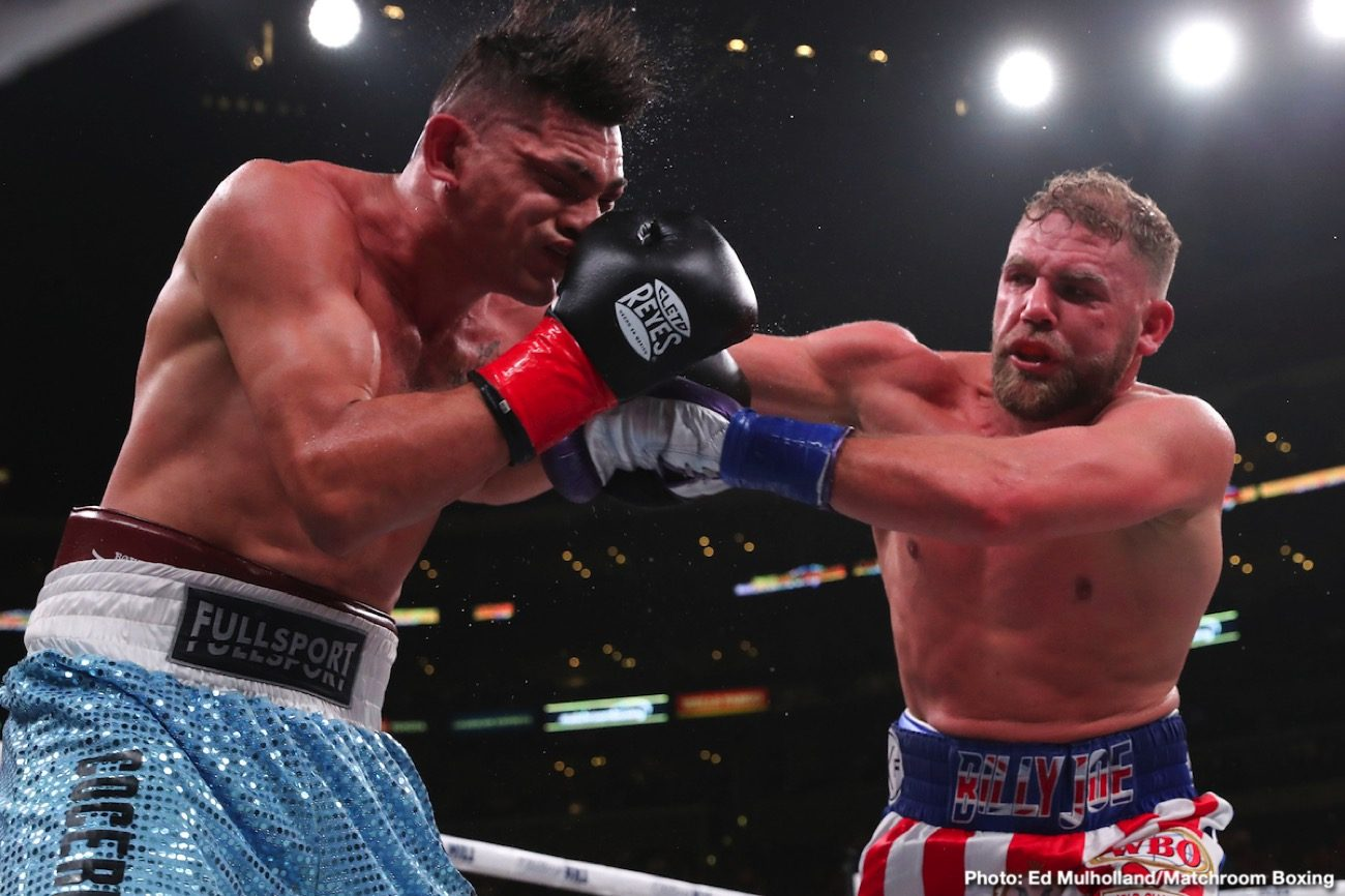 Billy Joe Saunders, Canelo Alvarez - Billy Joe Saunders is still upbeat about the coronavirus spoiling his plans on facing Canelo Alvarez on May 2 and he thinks he might have a curse on him. Although there's still a chance for WBO super middleweight champion Saunders (29-0, 14 KOs) and WBA 'regular' champ Canelo Alvarez (53-1-2, 36 KOs) to fight in June, July or August, according to Hearn, it's not looking good right now due to the coronavirus sidelining all sports including boxing.