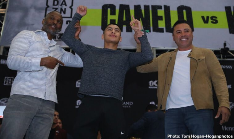 """Canelo Alvarez, Sergey Kovalevv - Saturday night at MGM Grand Garden Arena in Las Vegas, the biggest fight of the year is finally happening: Three-Time Light Heavyweight World Champion and current WBO Light Heavyweight World Champion Sergey """"Krusher"""" Kovalev (34-3-1, 29 KOs) will defend his title against WBC Franchise, WBA, Lineal, Ring Magazine Middleweight World Champion and WBA Super Middleweight World Champion Canelo Alvarez (52-1-2, 35 KOs)."""