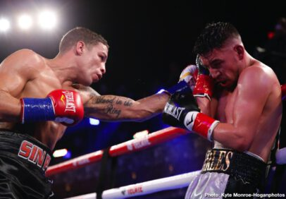 """Carlos Morales, Mercito Gesta - Hometown hero Carlos """"The Solution"""" Morales (19-4-4, 8 KOs) and Filipino contender Mercito """"No Mercy"""" Gesta (32-3-3, 17 KOs) fought to a technical majority draw after their scheduled 10-round lightweight bout was stopped in the sixth round due to a cut caused by an accidental headbutt. One judge scored it 58-56 in favor of Morales while two judges scored it a 57-57 draw. The fight headlined the Nov. 13 edition of Thursday Night Fights at the Belasco Theater in Los Angeles. The event was streamed live on DAZN, RingTV.com  and on Facebook Watch via the Golden Boy Fight Night Page. The series is also be available on regional sports networks around the nation."""