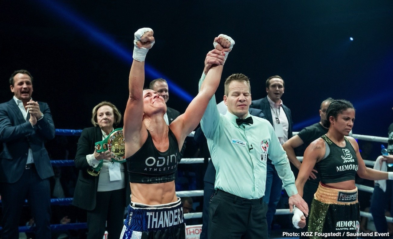 Kai Robin Havnaa, Katharina Thanderz - In a fast paced and exciting affair, Thanderz had to withstand some early pressure from the Brazilian Ramos, who started strongly, but was able to find her rhythm and land the more decisive shots as the fight progressed
