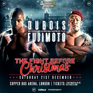Kyotaro Fujimoto - DANIEL 'DYNAMITE' DUBOIS (13-0, 12KOs) takes on a new front on his prolific title hunt when he challenges for the WBC Silver Championship at the Copper Box Arena on December 21 against Japan's Kyotaro Fujimoto (21-1, 13KOs). Dubois' recently won WBO International Title will also be on the line. 'The Fight Before Christmas' will be televised by BT.
