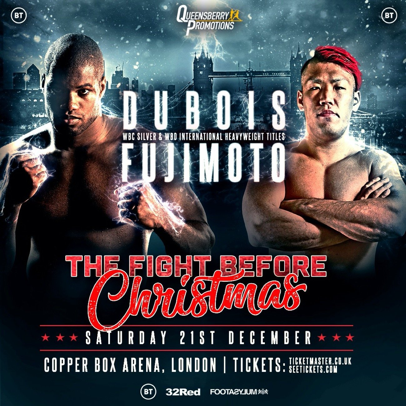 Daniel Dubois, Kyotaro Fujimoto - DANIEL 'DYNAMITE' DUBOIS (13-0, 12KOs) takes on a new front on his prolific title hunt when he challenges for the WBC Silver Championship at the Copper Box Arena on December 21 against Japan's Kyotaro Fujimoto (21-1, 13KOs). Dubois' recently won WBO International Title will also be on the line. 'The Fight Before Christmas' will be televised by BT.