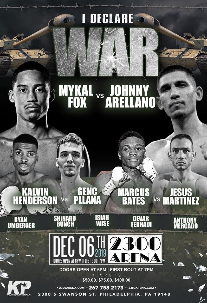 World-Ranked welterweight Mykal Fox will take on Johnny Arellano in the 10-round main event on Friday night,  December 6th at The 2300 Arena  in Philadelphia.