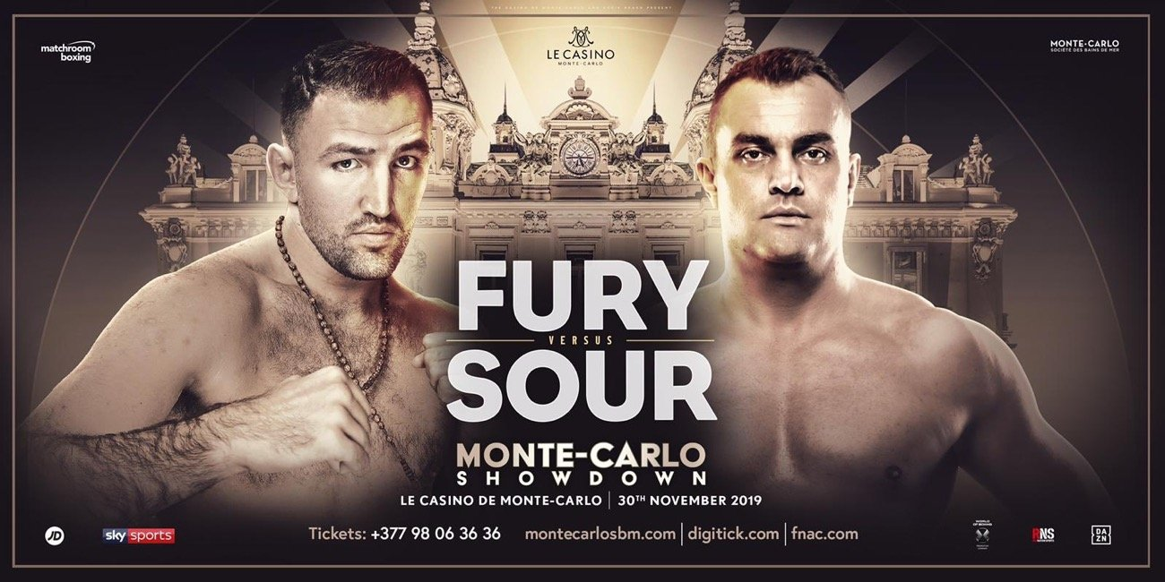 "Hughie Fury - Hughie Fury has promised his fans that they will see a ""hungrier"" version of him when he takes on the Czech Republic's Pavel Sour at the Casino de Monte-Carlo on Saturday November 30 , live on Sky Sports in the UK and DAZN in the US."