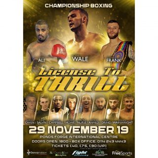 Josh Wale, Kash Ali, Tommy Frank - Dennis Hobson Promotions' next show will be at Sheffield's Ponds Forge Arena on November 29, and will be co-headlined by local man Tommy Frank, and Barnsley's Josh Wale.  Also appearing on the card will be heavyweight Kash Ali.  The action will be televised live on Freesports (Freeview 64; Sky 422; Virgin 553; Freesat 252; TalkTalk 64; BT 64).