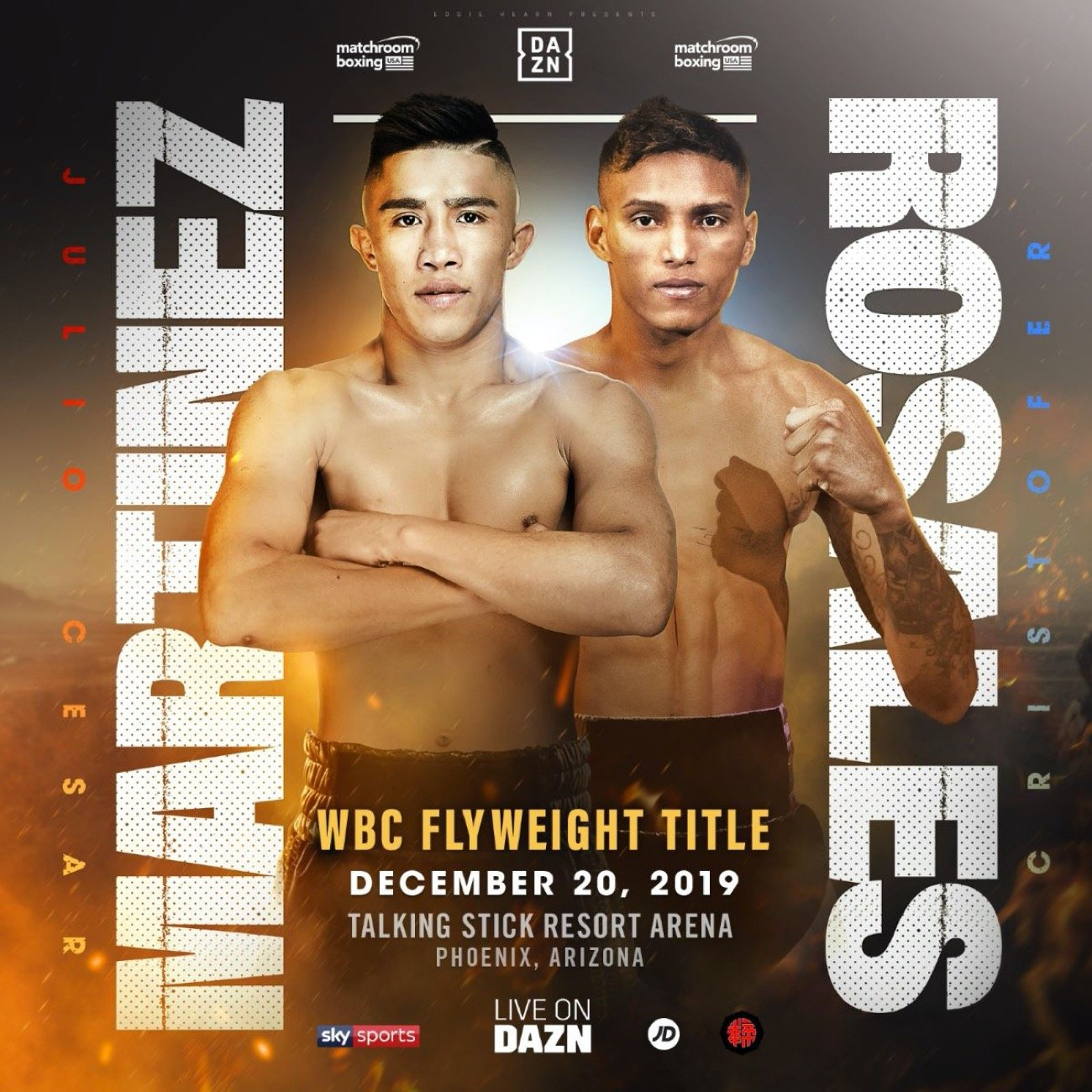 Cristofer Rosales - Julio Cesar Martinez will challenge Cristofer Rosales for the vacant WBC World Flyweight title at the Talking Stick Resort Arena in Phoenix, Arizona on Friday December 20, live on DAZN in the US and on Sky Sports in the UK on the undercard of the Super-Middleweight blockbuster between Daniel Jacobs and Julio Cesar Chavez Jr.