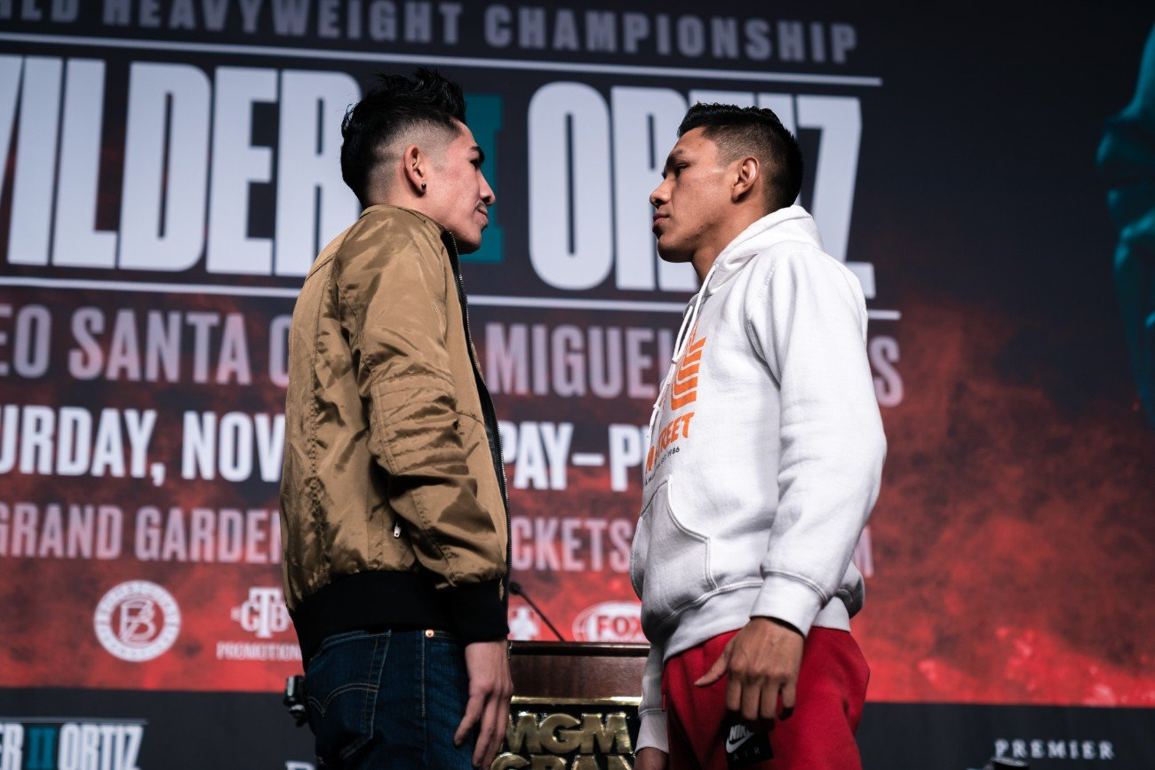 Fighters who will step in the ring this Saturday, November 23 in FOX Sports PBC Pay-Per-View and FS2 Prelims action went face-to-face and previewed their showdowns Thursday at a press conference before they enter the ring at the MGM Grand Garden Arena in Las Vegas.