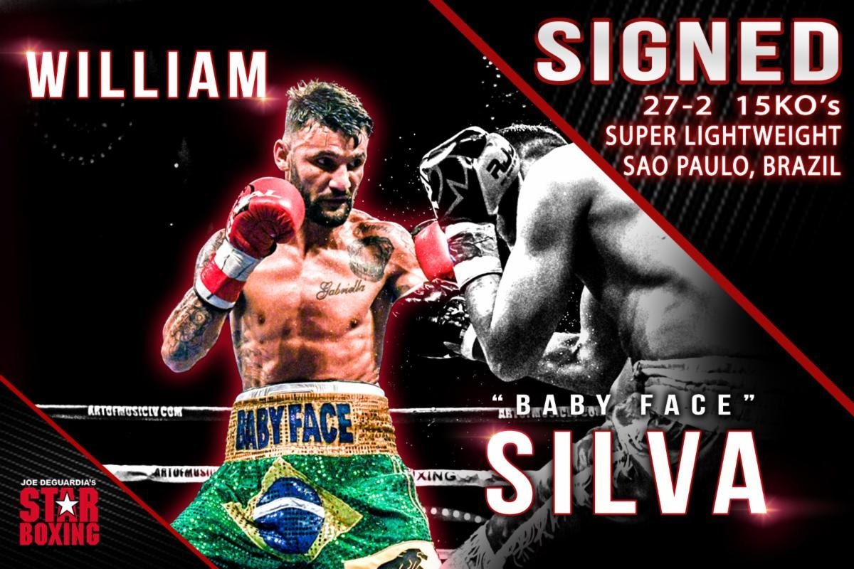 "William Silva - Star Boxing is pleased to announce the signing of WILLIAM ""BABY FACE"" SILVA (27-2 15KO's), who will be closing out 2019 with a bang when he faces undefeated California-born, ARNOLD BARBOZA JR (22-0 9KO's) at The Cosmopolitan in Las Vegas on November 30, to be featured on ESPN."