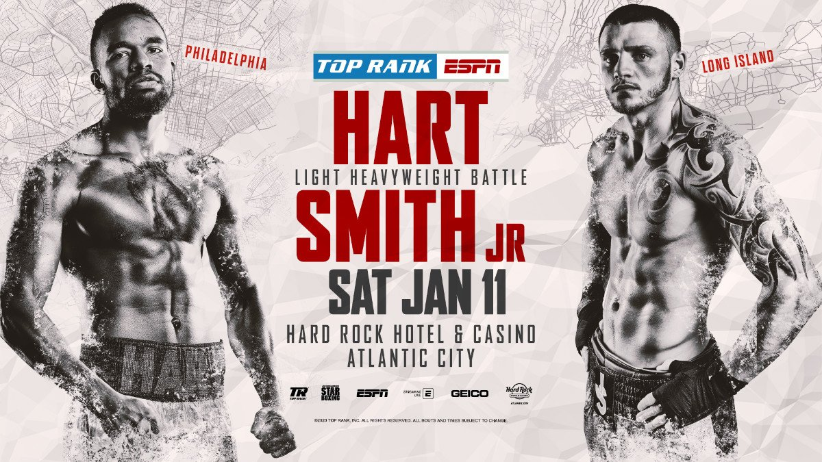 "This one is personal. JESSE ""HOLLYWOOD"" HART, born and bred in Philadelphia, will take on JOE SMITH JR. Saturday, Jan. 11 from Hard Rock Live at Etess Arena in the 10-round main event, which will kick off the 2020 Top Rank on ESPN schedule."