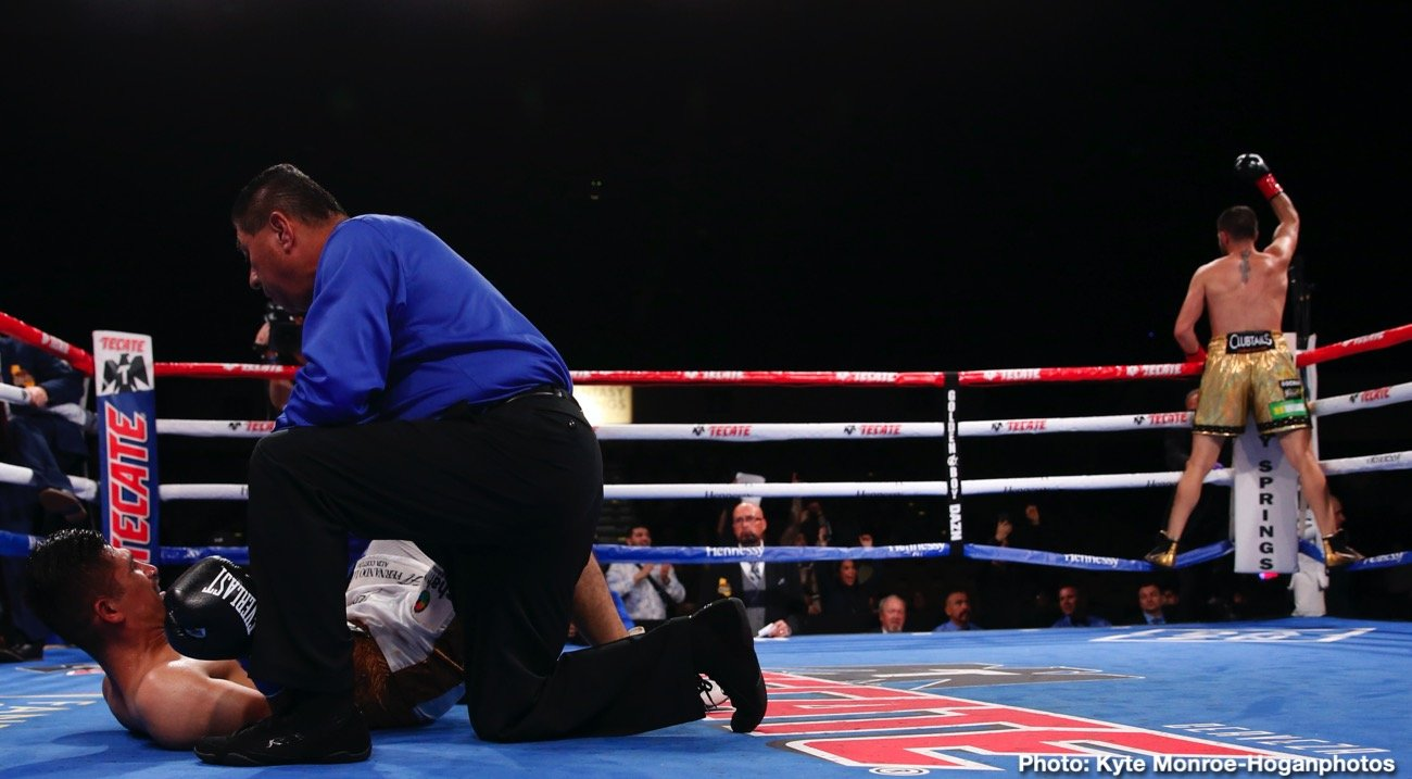 """Vergil Ortiz - Vergil Ortiz Jr. (15-0, 15 KOs) of Grand Prairie, Texasended the 2019 year with another spectacular knockout win to successfully defend his WBA Gold Welterweight Title against Brad """"King"""" Solomon (28-2, 9 KOs) of Douglasville, Georgia. The fight was stopped at 2:22 of the fifth round. The event took place Friday, Dec. 13 at Fantasy Springs Resort Casino in Indio, Calif. and was streamed live on DAZN."""