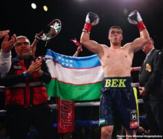 """Albert Machado, Brad Solomon, Luis Porozo, Vergil Ortiz - Vergil Ortiz Jr. (15-0, 15 KOs) of Grand Prairie, Texasended the 2019 year with another spectacular knockout win to successfully defend his WBA Gold Welterweight Title against Brad """"King"""" Solomon (28-2, 9 KOs) of Douglasville, Georgia. The fight was stopped at 2:22 of the fifth round. The event took place Friday, Dec. 13 at Fantasy Springs Resort Casino in Indio, Calif. and was streamed live on DAZN."""