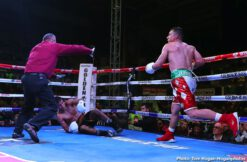 "Diego De La Hoya, Renson Robles - Diego De La Hoya (22-1, 10 KOs) of Mexicali, Mexico defeated Renson ""Gato"" Robles (16-7, 9 KOs) of La Victoria, Venezuela via unanimous decision in a 10-round featherweight fight at The Auditorio del Estado in Mexicali, Mexico.De La Hoya won with scores of 97-94, 99-89 and 99-89. The event was streamed live on Facebook Watch via the Golden Boy Fight Night Page."