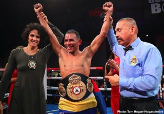 Ismael Barroso - Venezuelan puncher Ismael Barroso (22-3-2, 20 KOs) scored an upset 12-round unanimous decision against Canadian contender Yves Ulysse Jr. (18-2, 9 KOs) to capture the WBA Gold Super Lightweight Title in the main event of Thursday Night Fights on Dec. 5 at the Hangar at the OC Fair & Event Center in Costa Mesa, Calif. Barroso won with scores of 111-117, 113-115 and 113-115. The fights were streamed live on DAZN and on Facebook Watch via the Golden Boy Fight Night Page beginning at 10:00 p.m. ET/7:00 p.m. PT. The series is also available on regional sports networks around the nation.
