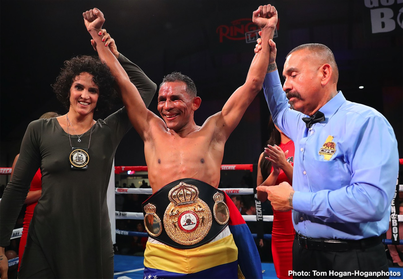 Yves Ulysse - Venezuelan puncher Ismael Barroso (22-3-2, 20 KOs) scored an upset 12-round unanimous decision against Canadian contender Yves Ulysse Jr. (18-2, 9 KOs) to capture the WBA Gold Super Lightweight Title in the main event of Thursday Night Fights on Dec. 5 at the Hangar at the OC Fair & Event Center in Costa Mesa, Calif. Barroso won with scores of 111-117, 113-115 and 113-115. The fights were streamed live on DAZN and on Facebook Watch via the Golden Boy Fight Night Page beginning at 10:00 p.m. ET/7:00 p.m. PT. The series is also available on regional sports networks around the nation.