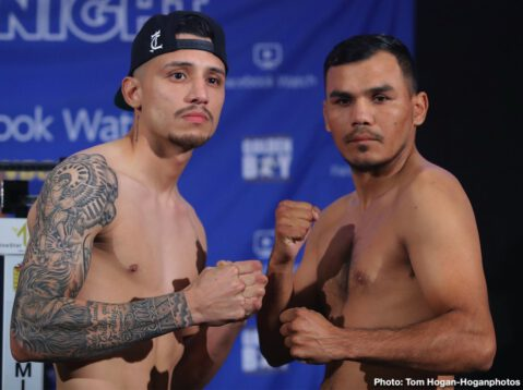 Diego De La Hoya, Renson Robles - Diego De La Hoya (21-1, 10 KOs) and Renson Robles (16-6, 9 KOs) hosted their final press conference today at the Lobby Bar at Hotel Araiza ahead of their 10-round fight. The event will take place Saturday, Dec. 14 at The Auditorio del Estado in Mexicali, Mexico and will be streamed live on Facebook Watch via the Golden Boy Fight Night Page.