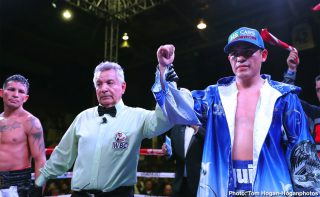 "Diego De La Hoya - Diego De La Hoya (22-1, 10 KOs) of Mexicali, Mexico defeated Renson ""Gato"" Robles (16-7, 9 KOs) of La Victoria, Venezuela via unanimous decision in a 10-round featherweight fight at The Auditorio del Estado in Mexicali, Mexico.De La Hoya won with scores of 97-94, 99-89 and 99-89. The event was streamed live on Facebook Watch via the Golden Boy Fight Night Page."