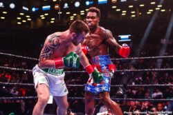 Chris Eubank, Dennis Hogan, Jermall Charlo, Matt Korobov - Undefeated WBC Middleweight World Champion Jermall Charlo (30-0, 22 KOs) successfully defended his title for the second time, stopping highly-ranked Irish contender Dennis Hogan (28-3-1, 7 KOs) with a showstopping one-punch knockout in the seventh round Saturday night live on SHOWTIME from Barclays Center, the home of BROOKLYN BOXING™, in an event presented by Premier Boxing Champions.