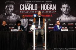 Chris Eubank, Dennis Hogan, Jermall Charlo, Marlon Tapales, Matt Korobov, Ryosuke Iwasa - WBC Middleweight Champion Jermall Charlo and highly rated contender Dennis Hogan went face to face Thursday at a final press conference to preview their world title showdown taking place this Saturday, December 7 live on SHOWTIME from Barclays Center, the home of BROOKLYN BOXING™, in an event presented by Premier Boxing Champions.