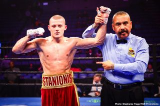Eimantas Stanionis - Undefeated rising welterweight and 2016 Lithuanian Olympian Eimantas Stanionis will battle Justin DeLoach in the 10-round main event of FS1 PBC Fight Night and FOX Deportes Wednesday, November 4 from Microsoft Theater in Los Angeles.