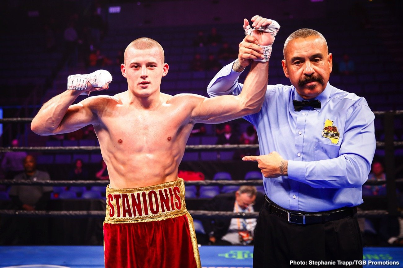 Eimantas Stanionis, Justin DeLoach - Undefeated rising welterweight and 2016 Lithuanian Olympian Eimantas Stanionis will battle Justin DeLoach in the 10-round main event of FS1 PBC Fight Night and FOX Deportes Wednesday, November 4 from Microsoft Theater in Los Angeles.