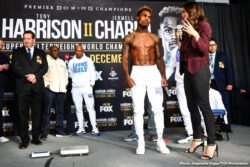 "Jermell Charlo, Tony Harrison - WBC Super Welterweight Champion Tony ""Superbad"" Harrison and former champion Jermell Charlo continued their heated war of words while previewing their highly anticipated rematch on ""PBC FACE TO FACE"" this past Saturday on FOX. The title showdown headlines FOX PBC Fight Night and on FOX Deportes Saturday, December 21 from Toyota Arena in Ontario, California."
