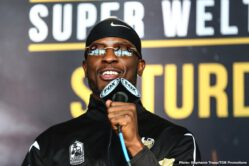 "Efe Ajagba, Jermell Charlo, Karlos Balderas, Tony Harrison - WBC Super Welterweight Champion Tony ""Superbad"" Harrison and former world champion Jermell Charlo continued their war of words Thursday at the final press conference before they rematch this Saturday, December 21 in the FOX PBC Fight Night main event and on FOX Deportes from Toyota Arena in Ontario, California."