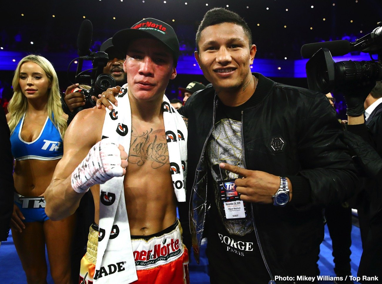 "Miguel Berchelt - Mexican warrior Miguel Berchelt - rarely takes a backward step, loves to fight, never in a bad one. Mexican warrior Oscar Valdez: all of the above. Match them together, as reigning WBC super featherweight champ Berchelt says is soon to be the case, the fight currently ""close,"" and we could be treated to the next great all-Mexican slugfest. Berchelt, who took to Facebook Live to speak with members of the media, said a fight between he and Valdez will be ""a war that makes one of us transcend and it's Mexico versus Mexico."""