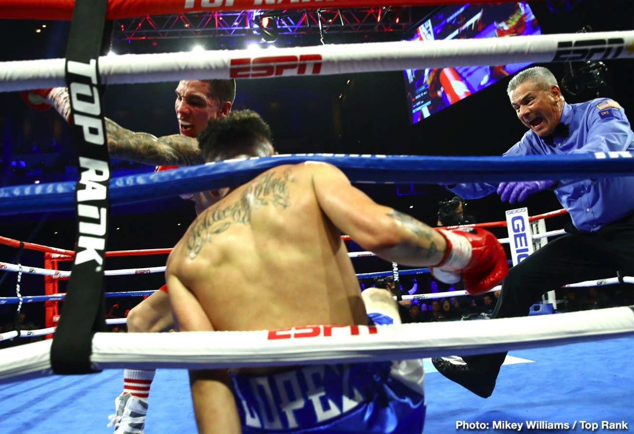 Adam Lopez, Carl Frampton, Óscar Valdez, Tyler Mccreary - Former WBO featherweight champion Oscar Valdez beat Adam Lopez (13-2, 6 KOs) by a 7th premature stoppage in the main event, whereas Carl Frampton defeated Tyler McCreary (16-1-1, 7 KOs) by a 10 round unanimous decision in the co-feature on Saturday night at The Cosmopolitan of Las Vegas.
