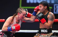 Ismael Barroso, Yves Ulysse - Venezuelan puncher Ismael Barroso (22-3-2, 20 KOs) scored an upset 12-round unanimous decision against Canadian contender Yves Ulysse Jr. (18-2, 9 KOs) to capture the WBA Gold Super Lightweight Title in the main event of Thursday Night Fights on Dec. 5 at the Hangar at the OC Fair & Event Center in Costa Mesa, Calif. Barroso won with scores of 111-117, 113-115 and 113-115. The fights were streamed live on DAZN and on Facebook Watch via the Golden Boy Fight Night Page beginning at 10:00 p.m. ET/7:00 p.m. PT. The series is also available on regional sports networks around the nation.